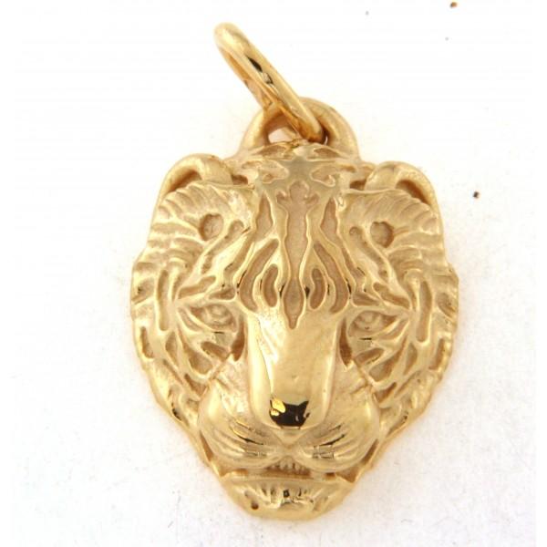 Pendentif plaqué or tête de tigre
