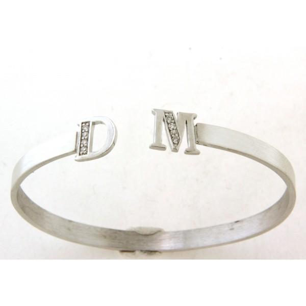 Bracelet argent rigide avec deux initiales au choix