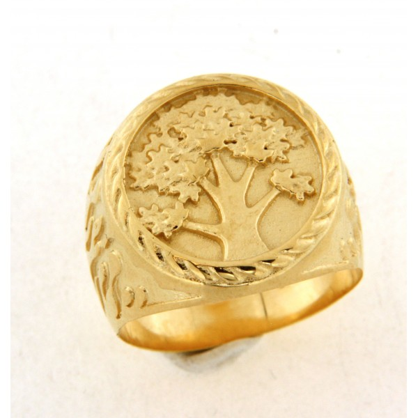 Chevalière plaqué or arbre de vie