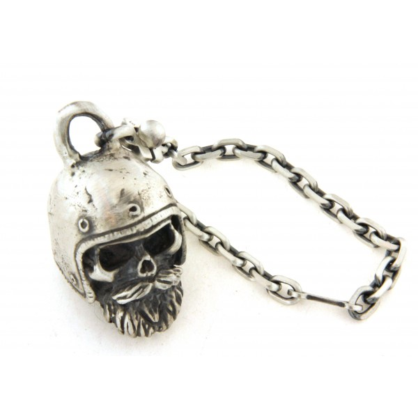 Porte clés argent biker tête de mort