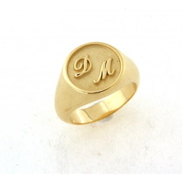Chevalière plaqué or avec initiales