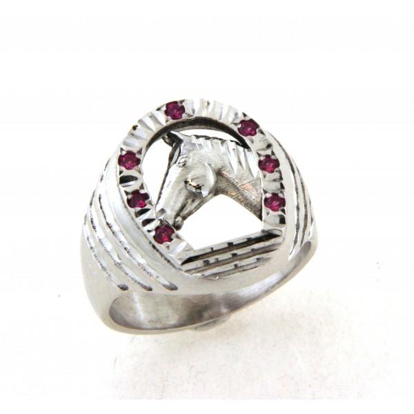 Chevalière argent fer à cheval avec pierres rouges