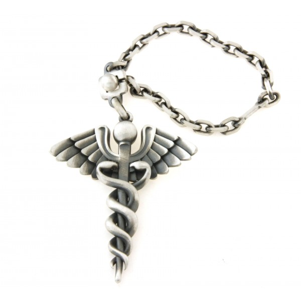 Porte clés argent vieilli motif vétérinaire