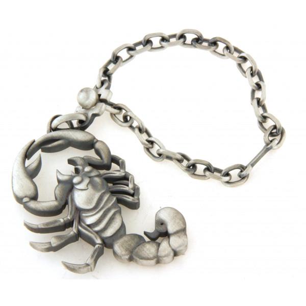 Porte clés argent motif scorpion