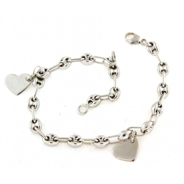 Bracelet argent grain de café deux petits coeurs