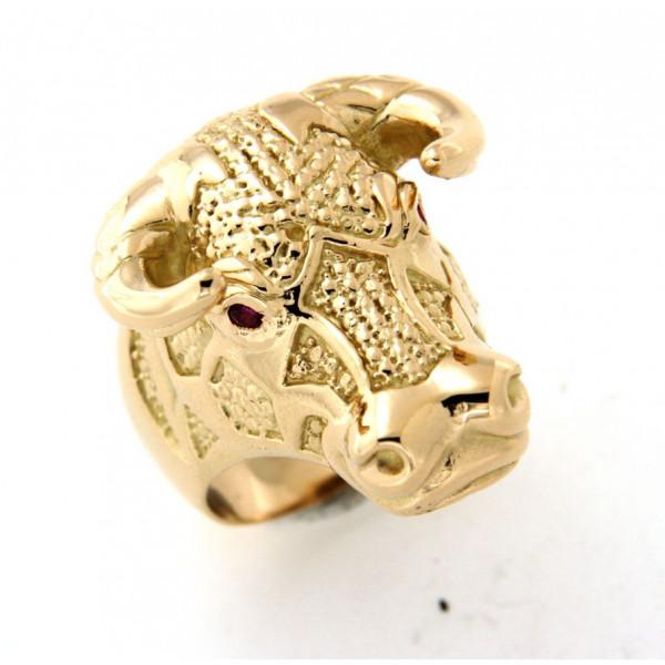 Chevalière taureau plaqué or