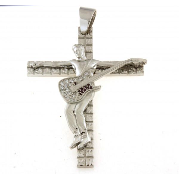 Croix en argent massif 8cm avec motif guitariste