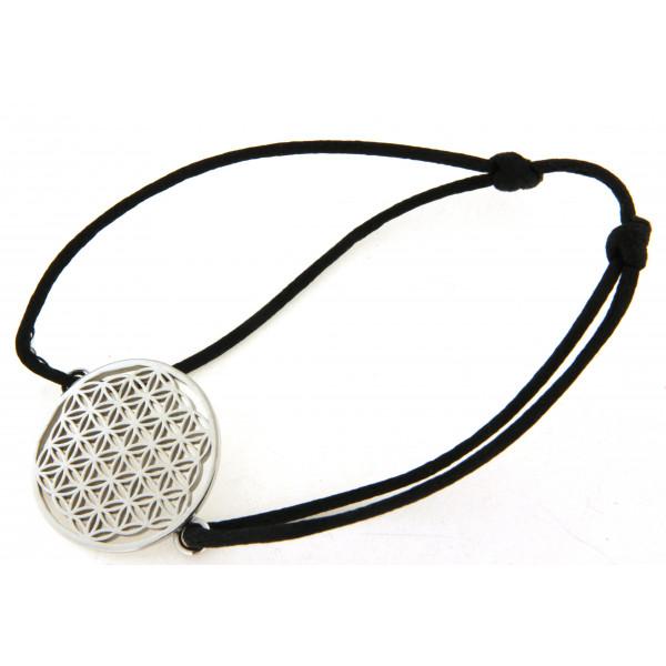 Bracelet cordon avec motif fleur de vie argent