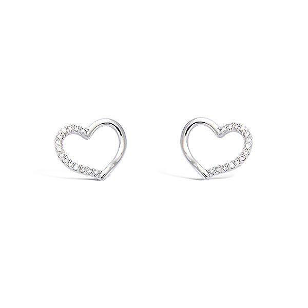 Boucles d'oreilles argent coeur oxydes