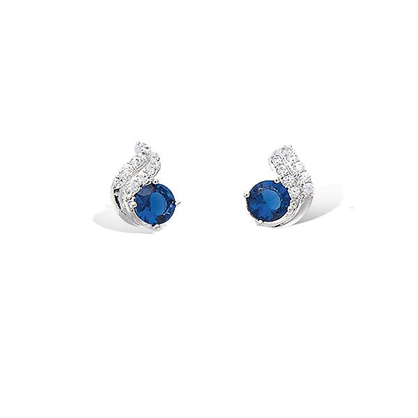 Boucles d'oreilles argent pierre bleue oxydes