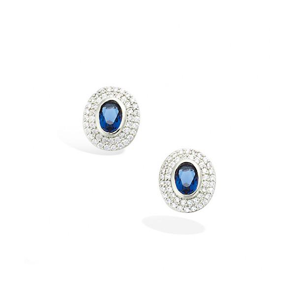 Boucles d'oreilles argent pierre bleue et oxydes