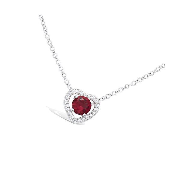 Collier en argent forme coeur pierre rouge et oxydes