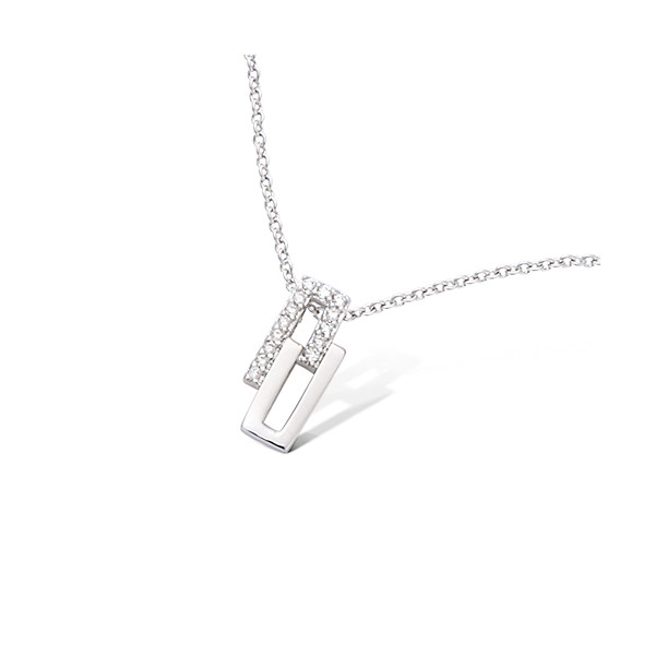 Collier en argent motif double rectangle