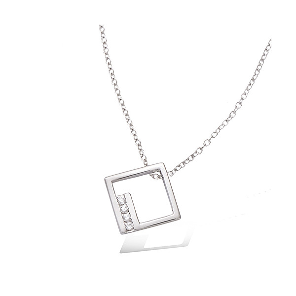 Collier argent motif carrée avec oxydes