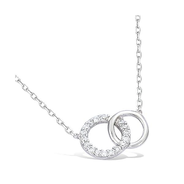 Collier argent motif cercle avec oxydes